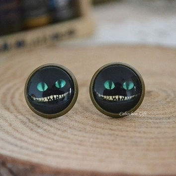 Cheshire Cat earrings,Alice in wonderland earrings, cabochon ear stud earrings = 1930024388