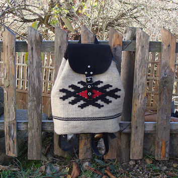 Boho backpack, handwoven wool backpack, black suede leather backpack, school backpack, holiday backpack, college backpack, kilim backpack