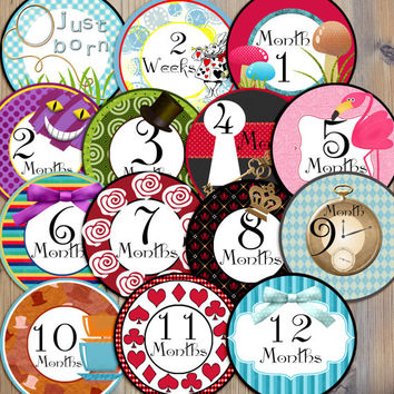 Instant Download - 14 Alice in Wonderland Inspired Baby Girl Newborn Monthly Milestone Stickers and Iron On Printable DIY PDF Files