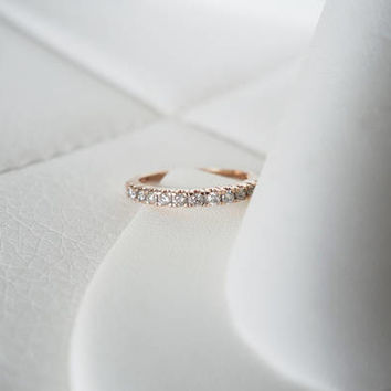 10k Solid Rose Gold Vintage Natural Diamond Antique Genuine Diamonds Art Deco Edwardian birthstone stacking wedding band ring