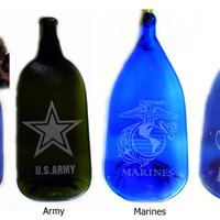 Military Wine Bottle Cheese Tray - Air Force, Army, Marines and Navy
