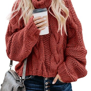 Sweater Knit Cable Turtleneck