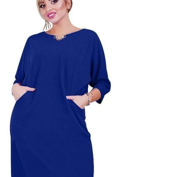 lena Plus Size Dress Solid O-neck Sundress pockets casual Female Clothing