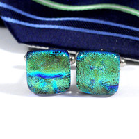Green and Blue Cufflinks, Mens Jewelry, Marbled Dichroic Glass, Husband, Best Man Gift