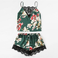 Floral Print Lace Cami Top And Shorts Satin Pajama Set 2018 Women Spaghetti Strap Sleeveless Patchwork Elegant Sleepwear