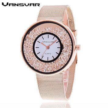 Fashion Stainless Steel Gold & Silver Band Quartz Watch