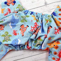 Nemo & Buddies (two-toned snaps- Royal Blue caps/Orange pieces) Printed PUL Traditional, OS Pocket DiaperInstock and ready to ship