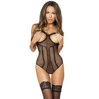 Sexy Paris Crotchless and Lace Up Sheer Teddy with Cutouts