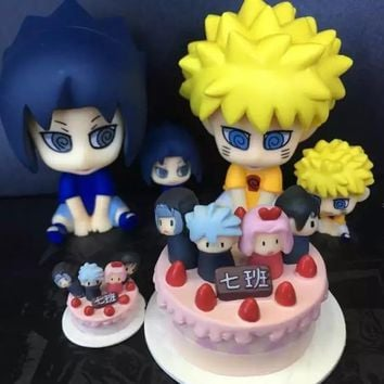 Naruto Sasauke ninja  action figure   Sasuke Class seven Cake doll decoration pvc classic collection model toys for children gift 6-10cm AT_81_8