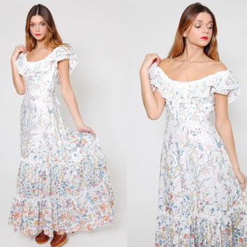 Vintage 70s FLORAL Maxi Dress LACE Trim Off The Shoulder Hippie Dress Boho Wedding Dress