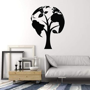 Vinyl Wall Decal Tree Earth Ecology Globe Save the World Decor Stickers Mural (ig5384)