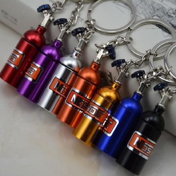 TOYIKIE 10pcs/lot Creative New NOS Mini Nitrous Oxide Bottle Keyring Key Ring Keyfob Stash Pill Box Storage Turbo Keychain