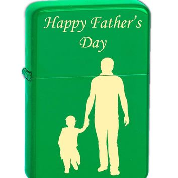 Father's Day Quotes for Dad Laser Engraved Vector KGM Thunderbird Vintage Lighter - Wedding, Groomsman, Father's Day, Birthday, Party, Gift - Multiple Designs (Happy Father's Day)