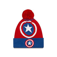 New Era Cap Men's Captain America Logo Whiz Pom Knit Beanie, Red/Blue, One Size