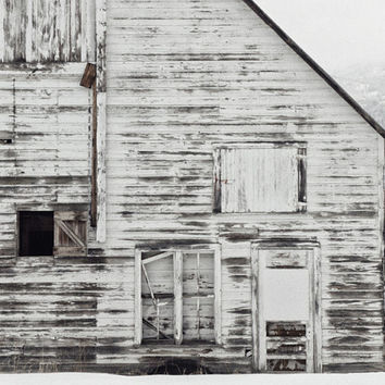 Whitewashed Barn Photograph, Rustic Wall Art Print, Landscape Photography, Vintage Farmhouse Style Decor | White On White - Horizontal