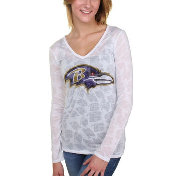 Baltimore Ravens Women's Sublime Burnout V-Neck Long Sleeve T-Shirt – White
