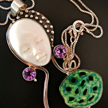 Carved Face Pendant-Necklace Sterling Silver Amethyst Peridot Coral Shell Chain Vintage