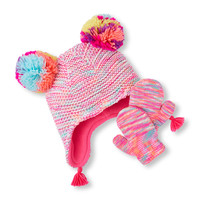 Toddler Girls Neon Marled Pom Pom Hat And Mittens Set | The Children's Place