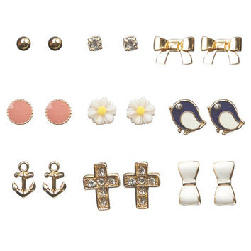 Cute Mix Button Earring 9-Pack | Wet Seal