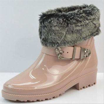 bottes femmes 2016 Rain boots women Fur leather Ankle boots high quality Buckle Rubber