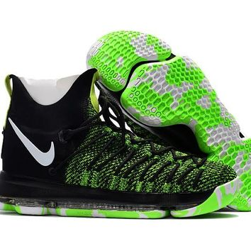 auguau Nike Men's Durant Zoom KD 9 Flyknit Basketball Shoes Black Green 40-46