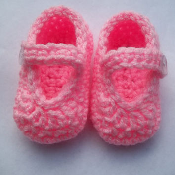 Pink Baby Booties, Baby Mary Janes, size 0-3 months
