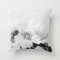 Black And White Blossoms Throw Pillow by ARTbyJWP