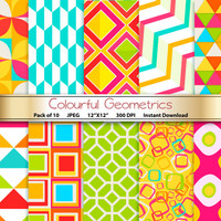 Colourful Geometrics Digital Paper: Colorful Geometric 12x12 Scrapbooking Papers - Craft Supplies Papercrafting - Instant Download Printable
