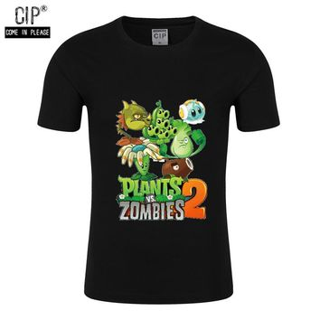 100% Cotton Plants VS Zombies T Shirt Children T Shirts Boys Clothing PVZ Cartoon Game Pattern Kids Clothes Summer Tops Teenager