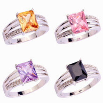 2016 Exquisite Fashion Emerald Cut Morganite Pink Black SapphireS925 Silver Ring Size 7 8 9 New Jewelry Ring For Woman's Gift