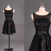 Short black lace bridesmaid dresses in 2014,tea length prom dresses with satin sash,cute girls dresses for wedding party.