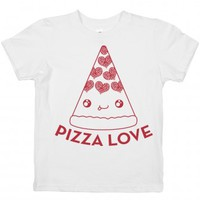 Pizza Love-Unisex White Youth T-Shirt