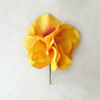 Golden Yellow Hydrangea Hair Flower Pin with Sunburst Orange Petals