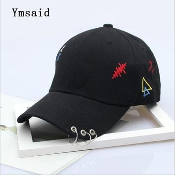 Trendy Winter Jacket Men's Snapback Hats Solid Color Iron Ring Decor Cotton Hats Women Kpop Simple Baseball Caps 2018 New Fashion Unisex Accessories AT_92_12