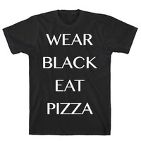 WEAR BLACK EAT PIZZA TEE