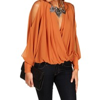 Salmon Slit Sleeve Surplice Top