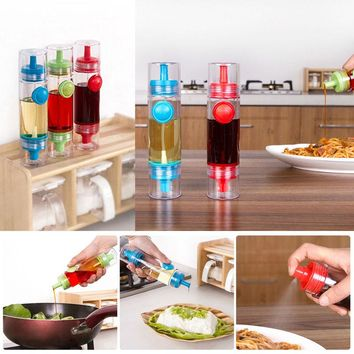 2 in 1 Cooking Olive Oil Sprayer Dispenser Cruet Oil Bottle Sprayer Can Oil Jar Pot Tool Can Kitchen Pastry Tools blue E5M1