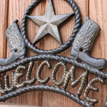 Cast Iron, Country Western Welcome Sign, Outdoor, Cowboy Boots, Star, Rustic, Mancave, Western