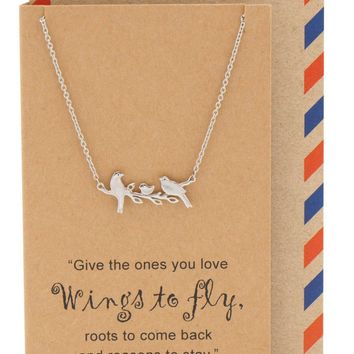 Galina Little Birds on Branch Pendant Necklace for Women, Animal Pendant Necklace, Gifts for Family, Gifts for Sisters, comes with Inspirational Quote