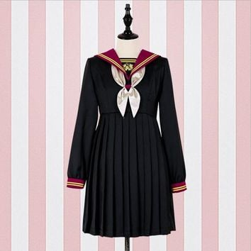 2018 spring Soft sister Sailor Collar embroidery Dress female retro japanese style lolita Pleated dress wj2053 drop shipping