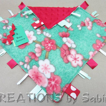 Baby Ribbon Sensory, Tag Blanket Toy, Security Blanket, Ribbons, Cherry Blossoms, Red, Green READY TO SHIP 133