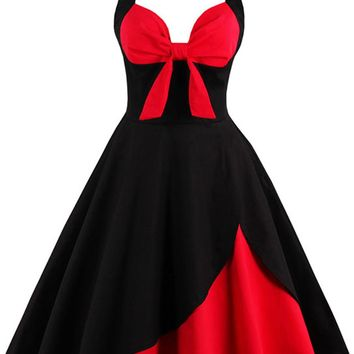 Atomic Red and Black Rockabilly Cocktail Dress