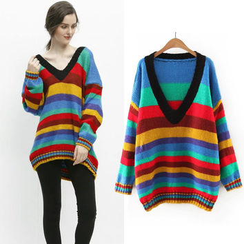 Winter Stripes Bat Plus Size Pullover Sweater Jacket [6332328708]