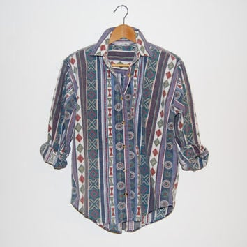 Vintage 1990's Womens Button Down Southwestern Aztec Patterned Shirt with Shoulder Pads