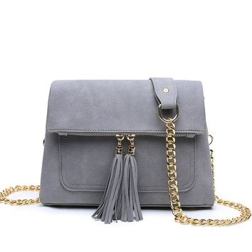 Female Chain Women Messenger Bag Cover Shoulder Cross Body Bag Suede Winter New FashioTassel Zipper Flap Clutch Bag for Ladies