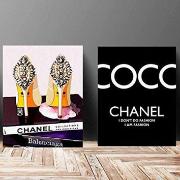 ONETOW Wall Art Poster Print - COCO CHANEL, Shoes, Book, Handbag Vogue - Famous Fashion Quote - Black WaterColor - 675, 610