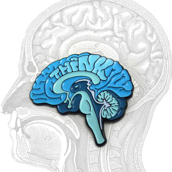 THINK Brain enamel pin
