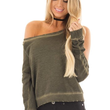 Olive Mineral Wash Bare Shoulders Long Sleeve Top