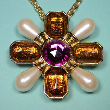 1993 Avon Bold Fashion Maltese Cross Necklace, Amber, Purple and Faux Pearl, Book Piece