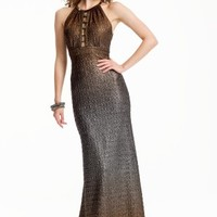 Beaded Ladder Neck Ombre Dress